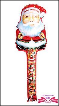 Free Shipping :78x25cm Santa Clausecheering stick,cartoon head balloon clappers , inflatable balloon stick