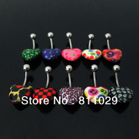 Hot wholesale free shipping piercing mixed style navel ring UV acrylic with logo pattern print heart shape belly button ring