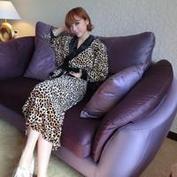 2013 autumn and winter leopard print robe noble robe bathrobes lounge
