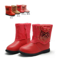 Green children shoes sparkling diamond female bear child cotton boots side zipper autumn and winter princess boots 8808