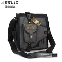 Male shoulder bag messenger bag men's messenger bag  cotton canvas bag belt place card water bottle