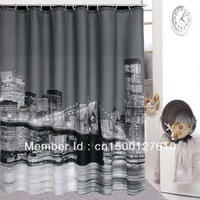 High Quality City Night View Bathing Waterproof Bathroom Fabric Shower Curtain AA3608