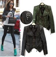 2014 Sharp Power Studded Shoulder Notched Lapel Denim Jeans Tuxedo Coat Blazer Jacket outwear coat
