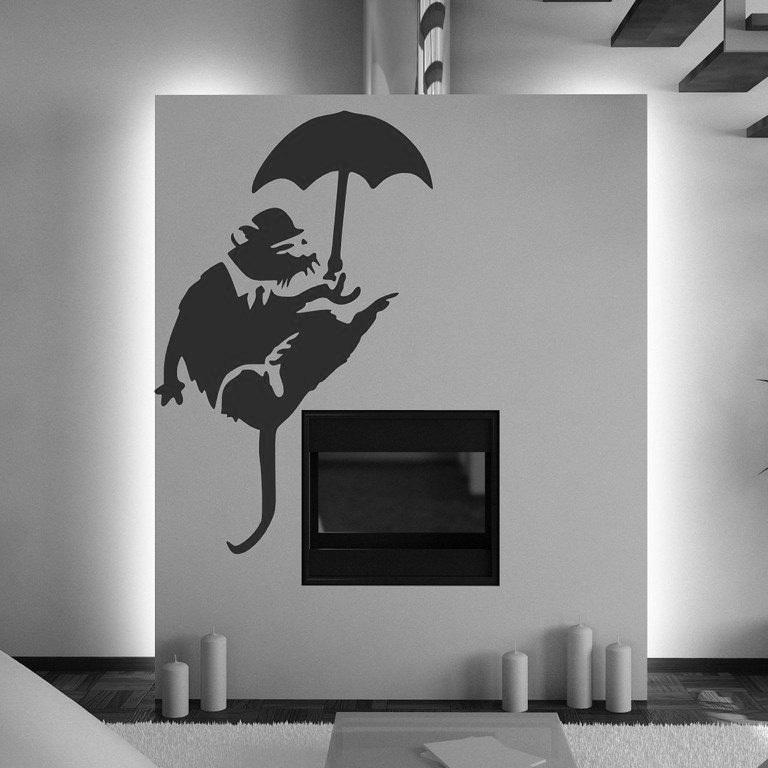 Umbrella wallpaper reviews online shopping reviews on for Banksy rat mural