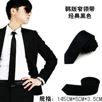 casual tie male women's student tie black small tie  145cmx5cm  free shipping 10pcs/lot