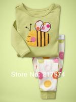 Hot Free Shipping Cartoon Pajama set  Wholesale 6sets/lot Baby Sleepwear Shirts  pants /long sleeve Underwears sets 6sizes 7237