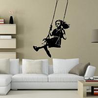 Banksy Swinging Girl Wall Sticker  wall art   mural wallpaper  60*90CM  Free shipping