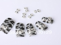 New 100 pcs Bowtie Heart Alloy 3D Rhinestone Nail Art Slice DIY Decoration Tool stickers