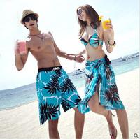 New arrival bikini set with beach shawl Coconut palm swimwear Blue sports swimsuit fashion lovers short pants Free shipping