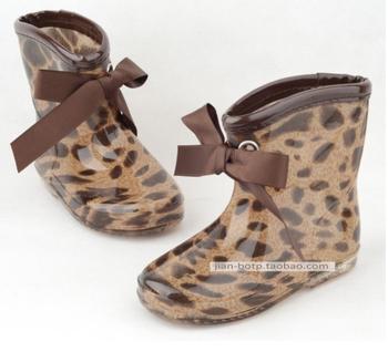 Mr-baby ultra-light child high quality rain boots rainboots fashion leopard print ribbon bow female child rain boots