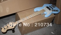 Wholesale -  China 2013 new Left hand custom 5 string blue electric bass guitar free shipping