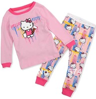 Hot Free Shipping HellokttyPajama set  Wholesale 6sets/lot Baby Sleepwear Shirts  pants /long sleeve Underwears sets 6sizes 7066