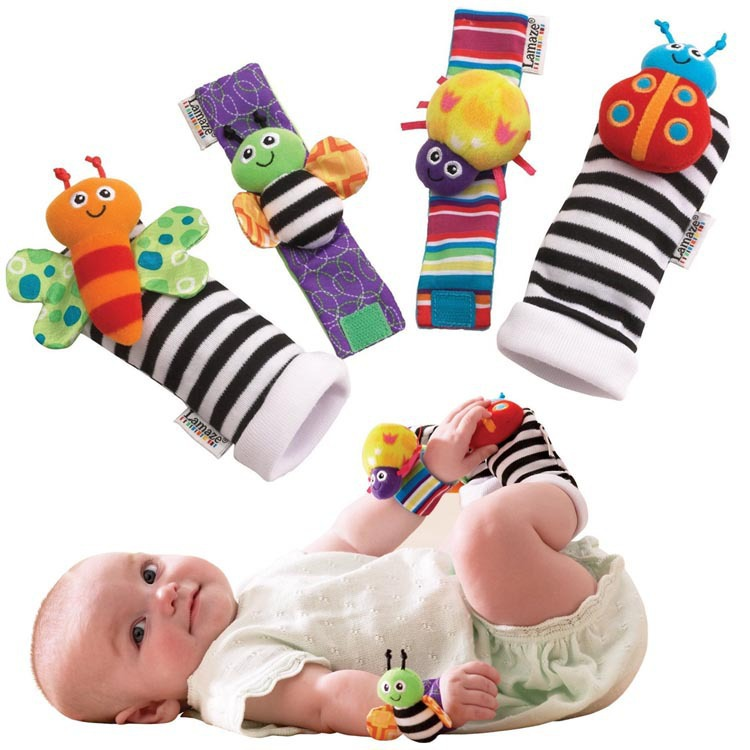 4 Styles! Lamaze Wrist rattle foot finder Baby toy foot Sock Infant Plush toys Dropship Free shipping 20PCS/LOT(China (Mainland))