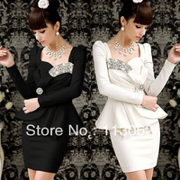 2013 new women&#39;s slim dresses spring sparkling diamond gem noble ladies party bow tight-fitting one-piece dress
