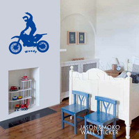 Vinyl Wall Decal Art Sticker - Motocross Rider Personalized With A Name Of Your Choice  for home  58*60CM  Free shipping