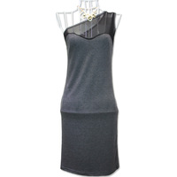 Original skirts!2013 new, sexy, Slim, hollow, black and dark gray stitching, oblique shoulder dress.Free shipping.