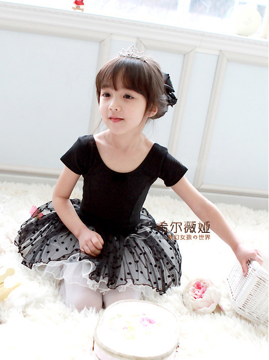 Wholesales-Free shipping! Beautiful Girl's Blace Swan Leotard Ballet Tutu Dancewear, Children's Short Sleeve Party dress(China (Mainland))
