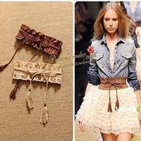 All-match women's pear cutout flower tassel elastic cummerbund belt ml13
