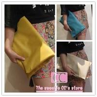 100% handmade spring and summer fashion yellow/blue/beige vintage serpentine pattern folding day clutch women's envelope bag