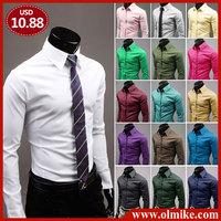 Free Shipping 2014 Mens Slim fit Unique neckline stylish Dress long Sleeve Shirts Mens dress shirts 17colors ,size: M-XXXL C237