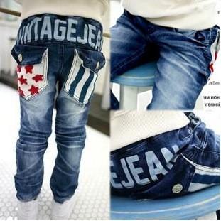 SKZ-274, free shipping Factory Outlet kid trousers fashion boy star stripe pocket design jeans brand child denim pants 5pcs/lot