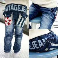 SKZ-274, free shipping Factory Outlet kid trousers fashion boy star stripe pocket design jeans brand child denim pants 5pcs/lot