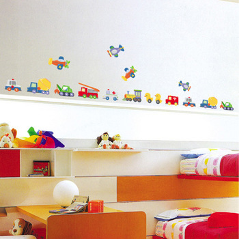 Free Shipping PVC Home Wall Stickers for Decor,Cartoon Toy Truck Real Child Decoration Stickers