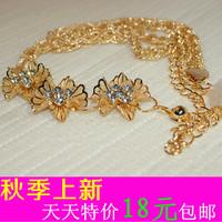 Free Shipping wholesale Fashion Women's belt All-match rhinestone belly chain   thin belt strap decoration tassel gold