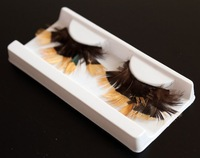 Handmade Thick Long Colorful Feather False Eyelashes Fake Eye Lashes Black And Gold Halloween Makeup 10 Pairs F019