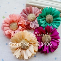 Free Shipping! 7cm cloth flowers gold decoration flowers hair accessories ribbon flowers