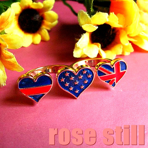 Alloy gold plated pearlescent paint heart torx flag star Stripes ring surface double finger lock ring finger ring j(China (Mainland))