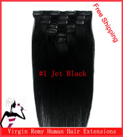 "15"" 18"" 20"" 22"" Clip In Virgin Remy Human Hair  Extensions #1 Jet Black 70g"
