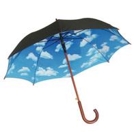 Top Quality BLUE AIR UMBRELLA Superacids solid color umbrella automatic blue sky large black umbrella + Free Shipping