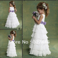 2013 HOT SALE Wholesale Hand Made Flower SashCheap Chiffon White and Purple Many Layers Floor-length Flower Girl Dresses