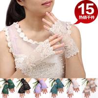 Chromophous all-match sunscreen breathable female anti-uv gloves short design semi-finger lace gloves
