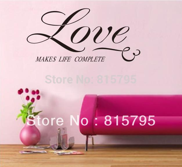 "23*11"" English Maxim Wall Sticker 58*28cm Self-adhesive Quality Vinyl Waterproof Home Window Car Decal Love makes life complete(China (Mainland))"