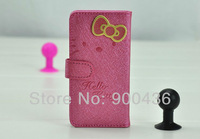 HOT! 20pcs/lot free shipping Hello Kitty Card Slot Bowknot  Leather Case For iPhone 5 5G 5th   High quality