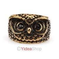 Free shipping !2013 HOT! Wholesale 2pcs Punk Classic Pretty Girls Antique Bronze Fashion Vintage Retro Owl Shape Ring 261218
