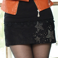 9 2012 autumn winter women's all-match rhinestones lace patchwork black culottes slim hip shorts k31