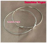 DIY hoop earrings, 80mm,silver color, earring accessories, fashion earrings, 100pcs/lot,CPAM free shipping