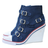 Ash High-Top Shoes Hasp Wedges Ankle Boots Navy Blue Canvas Denim Casual Sports Shoes Type Women's Shoes