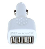 2.1 A white car charger 4 port USB Car Charger Adapter for iphone5 4 4g 4s ipad 1 2 3 ipod Free shipping