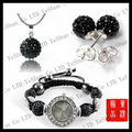 Hot Sale Shamballa Watch Jewelry Set Shamballa Bracelet Watch/Earring/Necklace Pendant Set Crystal Jewelry Free Shipping