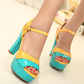 Thick heel sandals 2013 summer high-heeled shoes platform candy color block decoration open toe shoe fashion shoes
