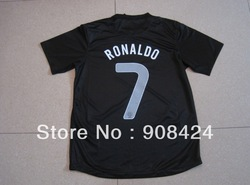 Hot!Thailand Quality Portugal Black #7 RONALDO Soccer Jerseys Player Version Football Shirts Soccer Tops Soccer Wear+gifts(China (Mainland))