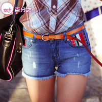 2013 women's casual pants hot pants female straight embroidered edging women's denim summer short trousers 1910
