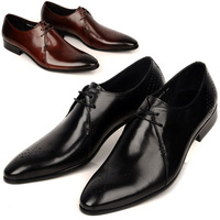 European version of the trend of fashion pointed toe leather italian carved fashion formal leather male brief