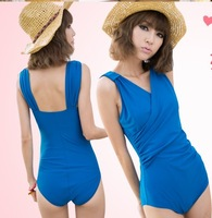 2013 Fashion women swimsuit hot spring swimwear the big one piece solid color triangle swimwear With a chest pad