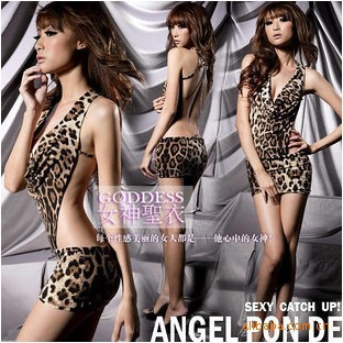 2013 free shipping lovely Girl Women Sexy Leopard Dress+G-String Yellow Uniform Costume Lingerie No.5006(China (Mainland))