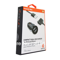 2 in 1 2-Port Dual USB Car Charger + usb cable for iPhone 4s iPod ipad galaxy all phone with Retail package(China (Mainland))